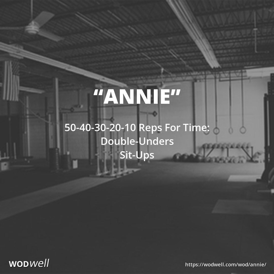 """""""Annie"""" WOD - 50-40-30-20-10 Reps For Time: Double-Unders; Sit-Ups"""