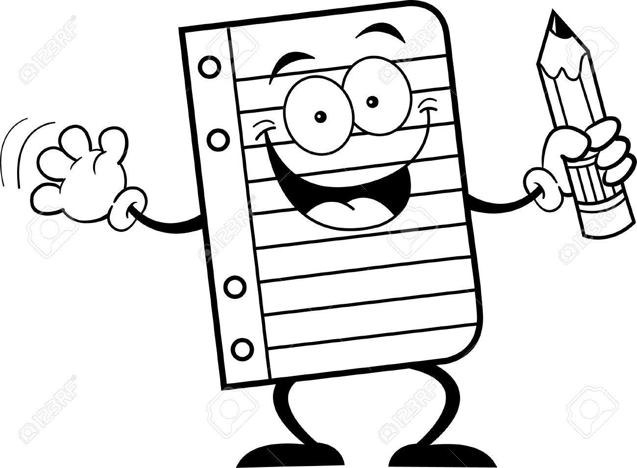 Black And White Illustration Of A Notebook Paper Holding A