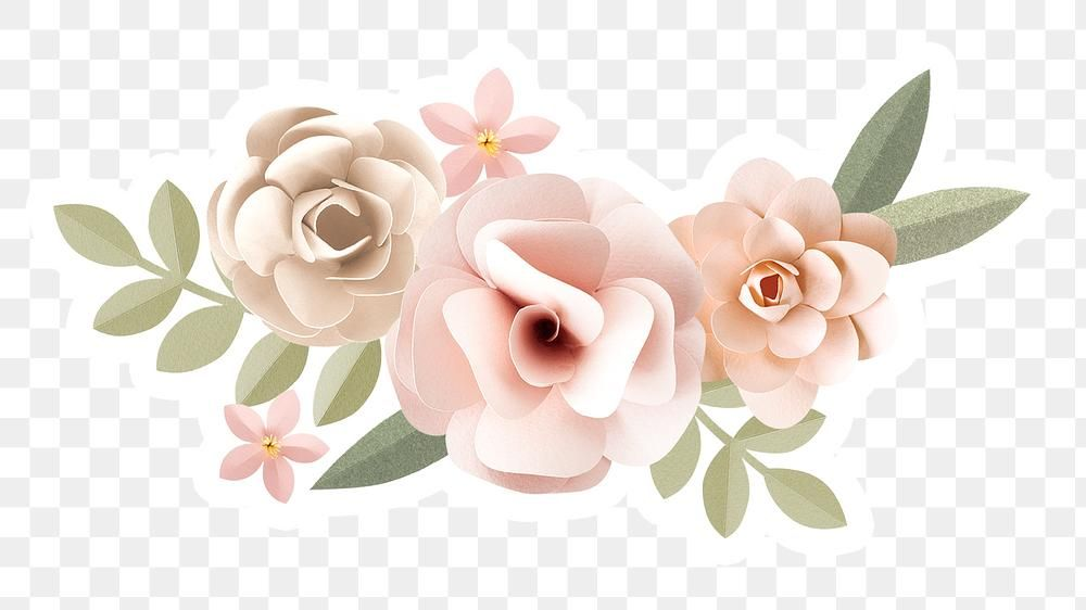 Download Premium Png Of Papercraft Flower Sticker With A White Border In 2020 Flower Illustration Flower Clipart Design Element