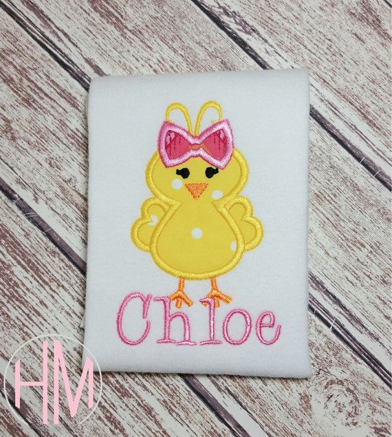Easter Chick Personalized Appliqued Shirt by HMembroideryCo