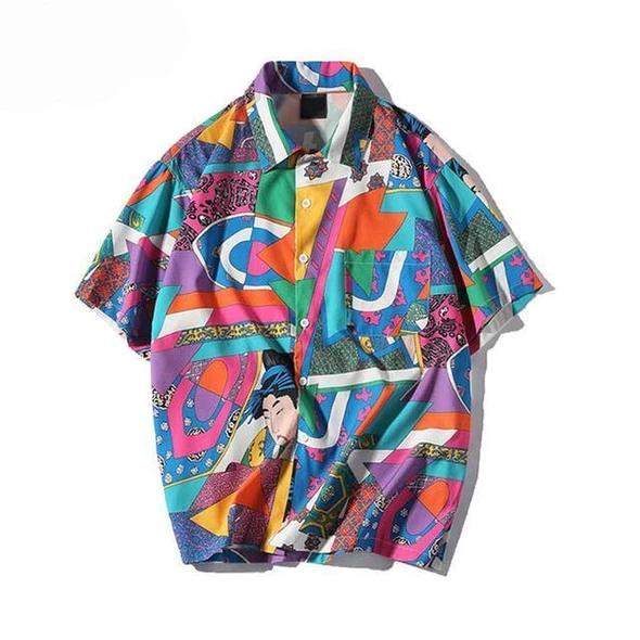 Plegie Unisex Short Sleeve Shirt Men Hip Hop Japanese Streetwear Ukiyo – liligla