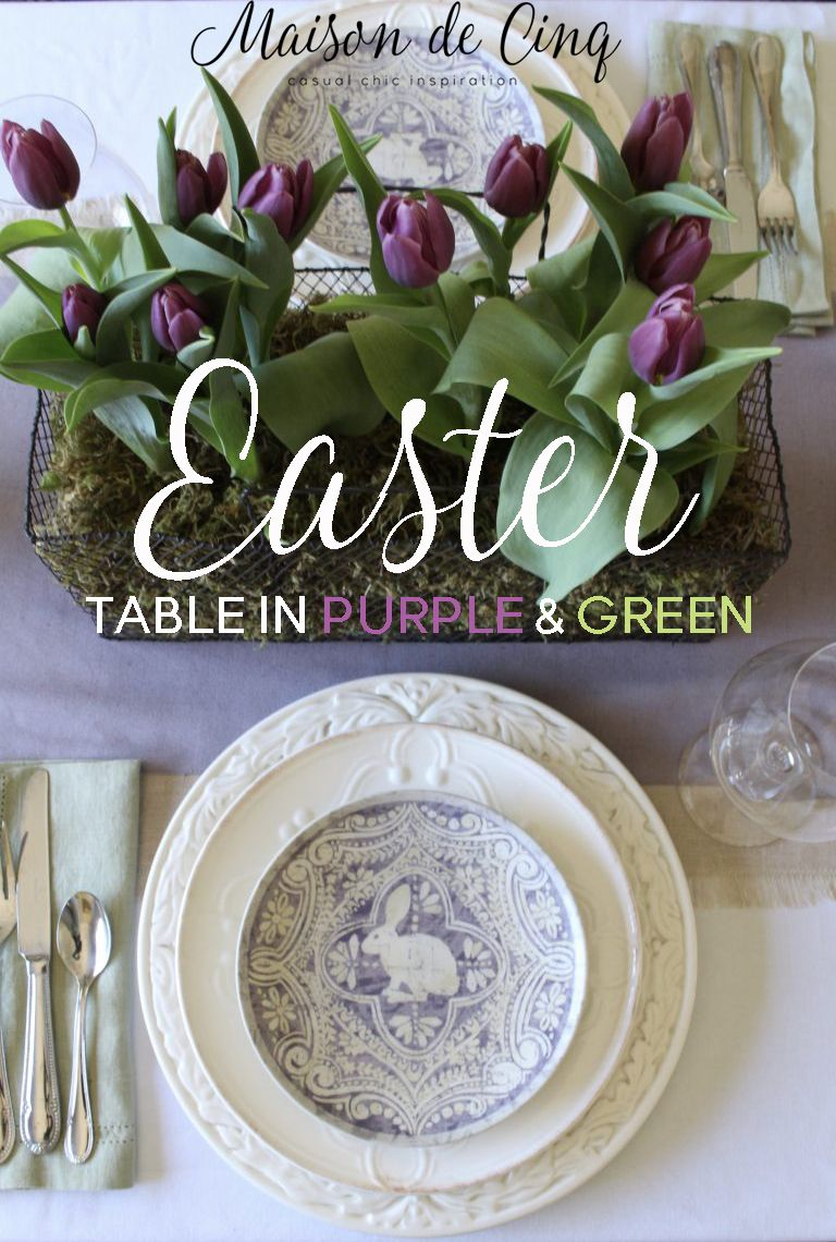 easter table with purple tulips and pottery barn plates the art of rh pinterest com