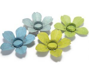 Portacandela tealight a fiore in metallo colorato
