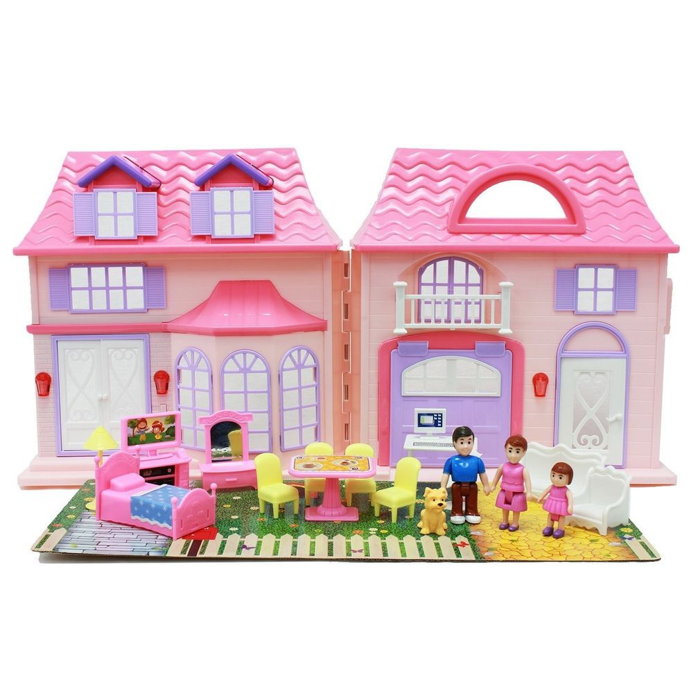 Boley Play Pretend Doll House Toy - 21 pc collapsible dollhouse, a ...