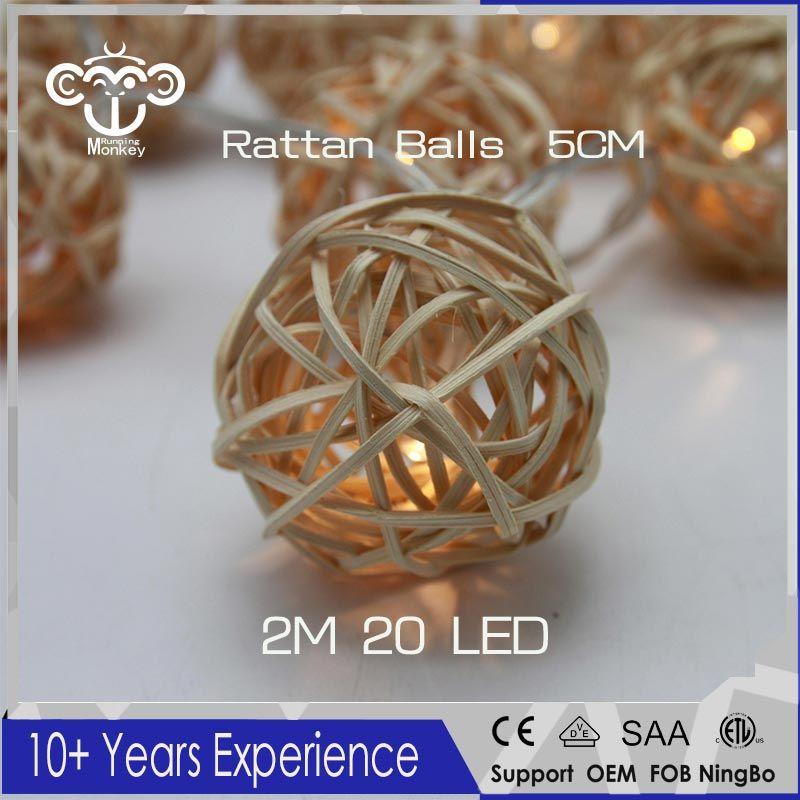 5CM 2M 20LED Rattan Balls Battery Powered LED String Lights Sepak