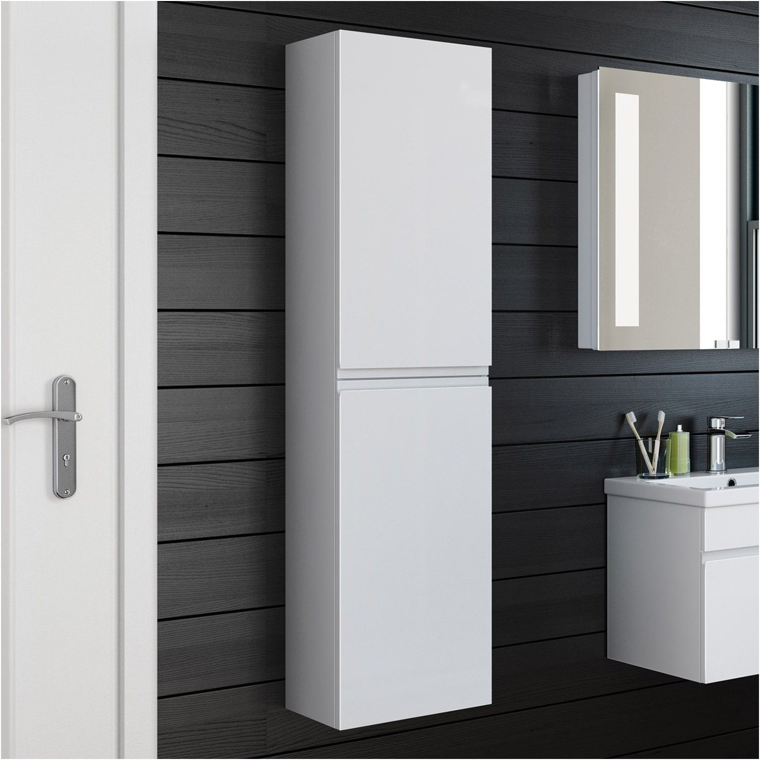 bathroom cabinet 1400x350 white storage wall mounted hung side from ...