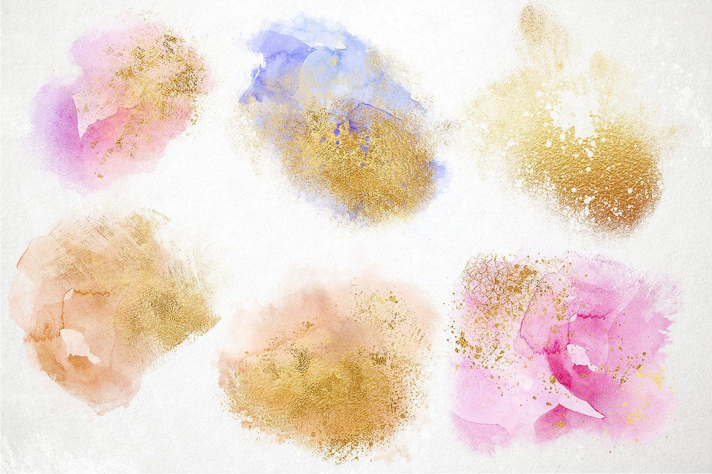 Watercolor Splashes With Gold Dust