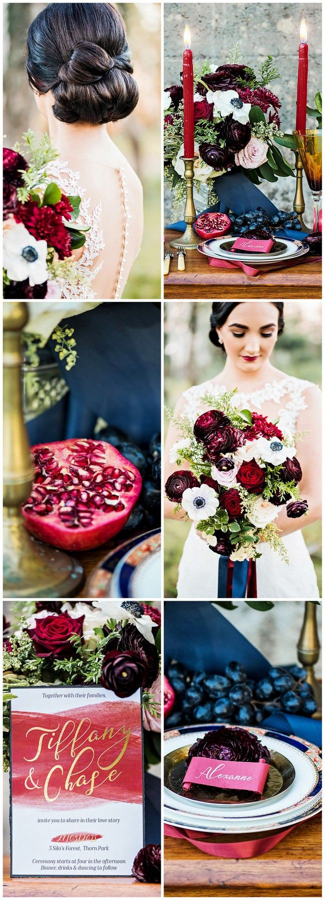 Romantic burgundy navy and gold wedding decor details