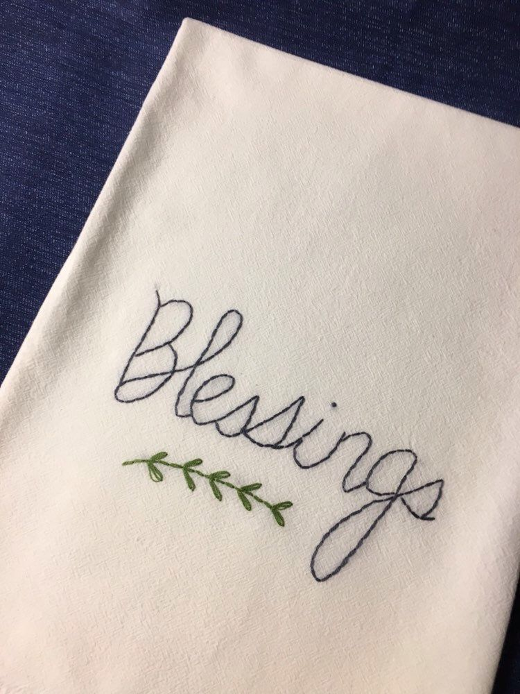 Blessings farmhouse flour sack dish towel,hand embroidered kitchen tea towel, hand stitched dish towel Housewarming Gift #dishtowels