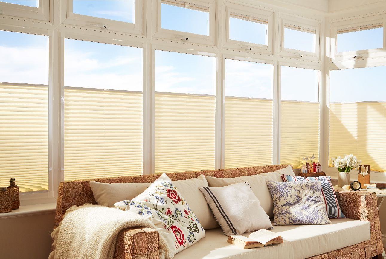 High Quality Top Down, Bottom Up Pleated Blinds For The Dining And Great Room