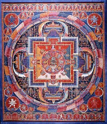 Mandala de Vajrâmrita - Tibet - XVIe siècle - Gouache sur toile   Tibet XVIe siècle Gouache sur toile