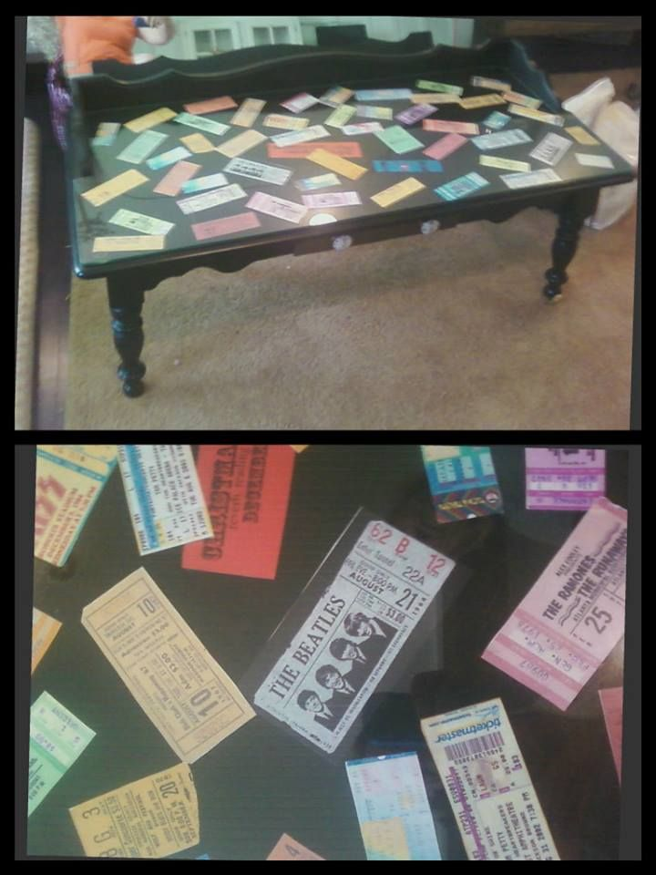 Ticket Stub Coffee Table! I LOVE this idea I have SO many old - concert ticket design