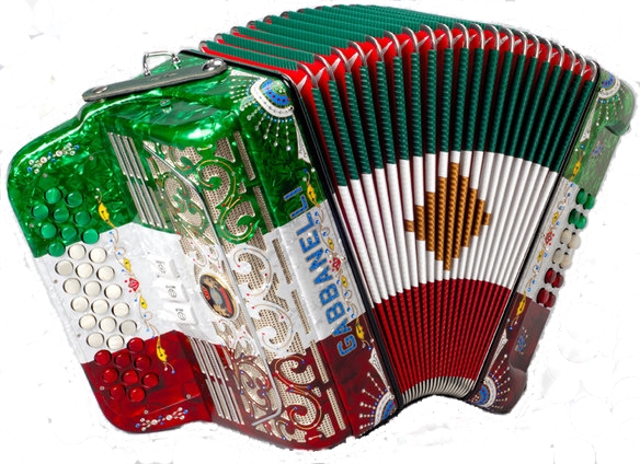 Gabbanelli acordion in traditional Mexican colors, ready to