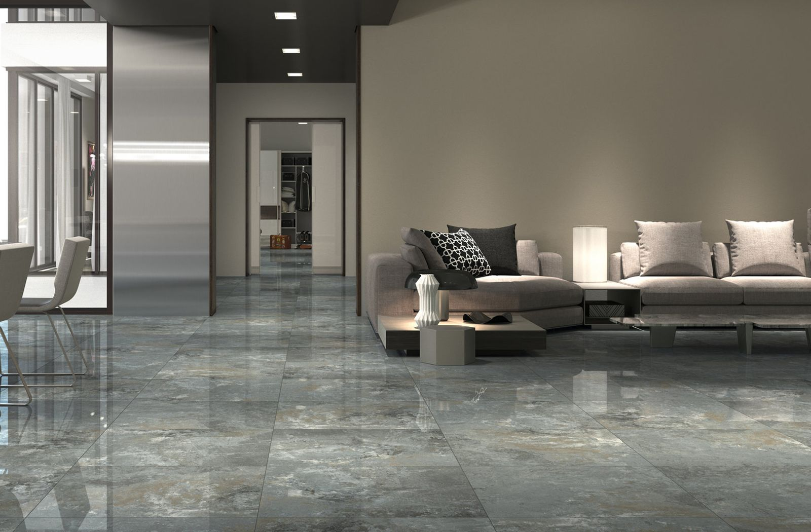 Luxurious and elegant living room floor with tiles from the Gneis collection by Fanal.   Living ...