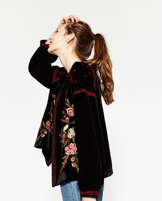 Image of embroidered velvet jacket from zara fall