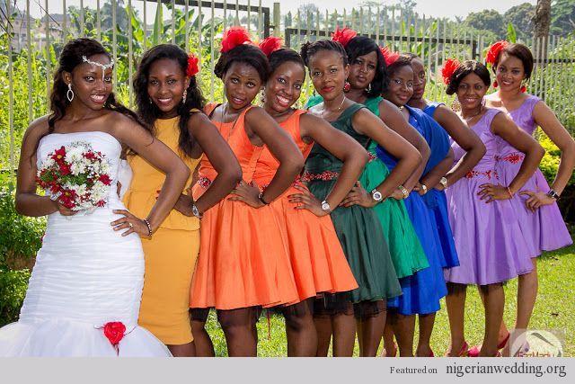 Nigerian Wedding Multi Colored Bridesmaid Dresses Multicolor