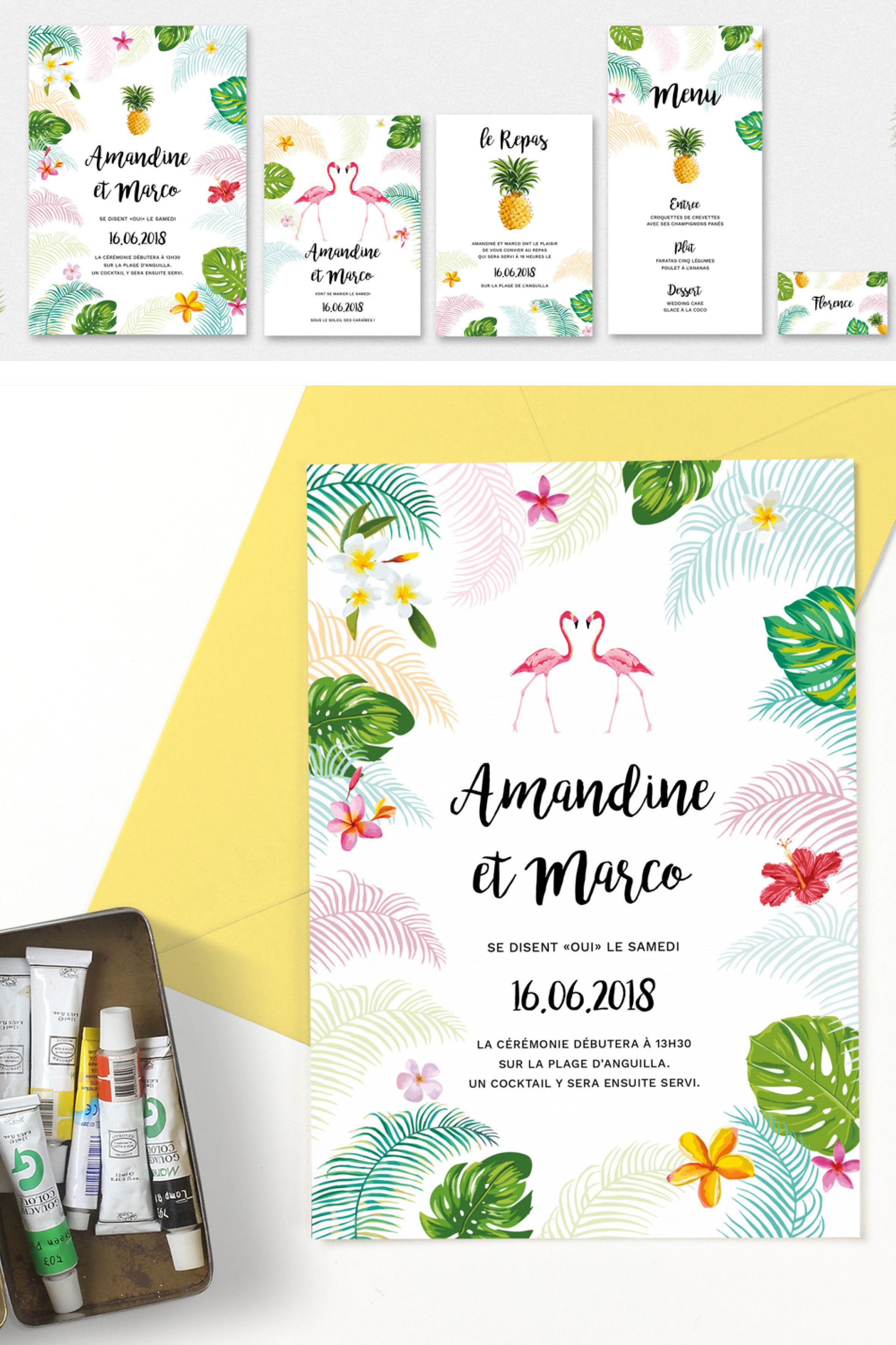 """Collection de papeterie de mariage """"Voyage Tropical"""" posée de"""