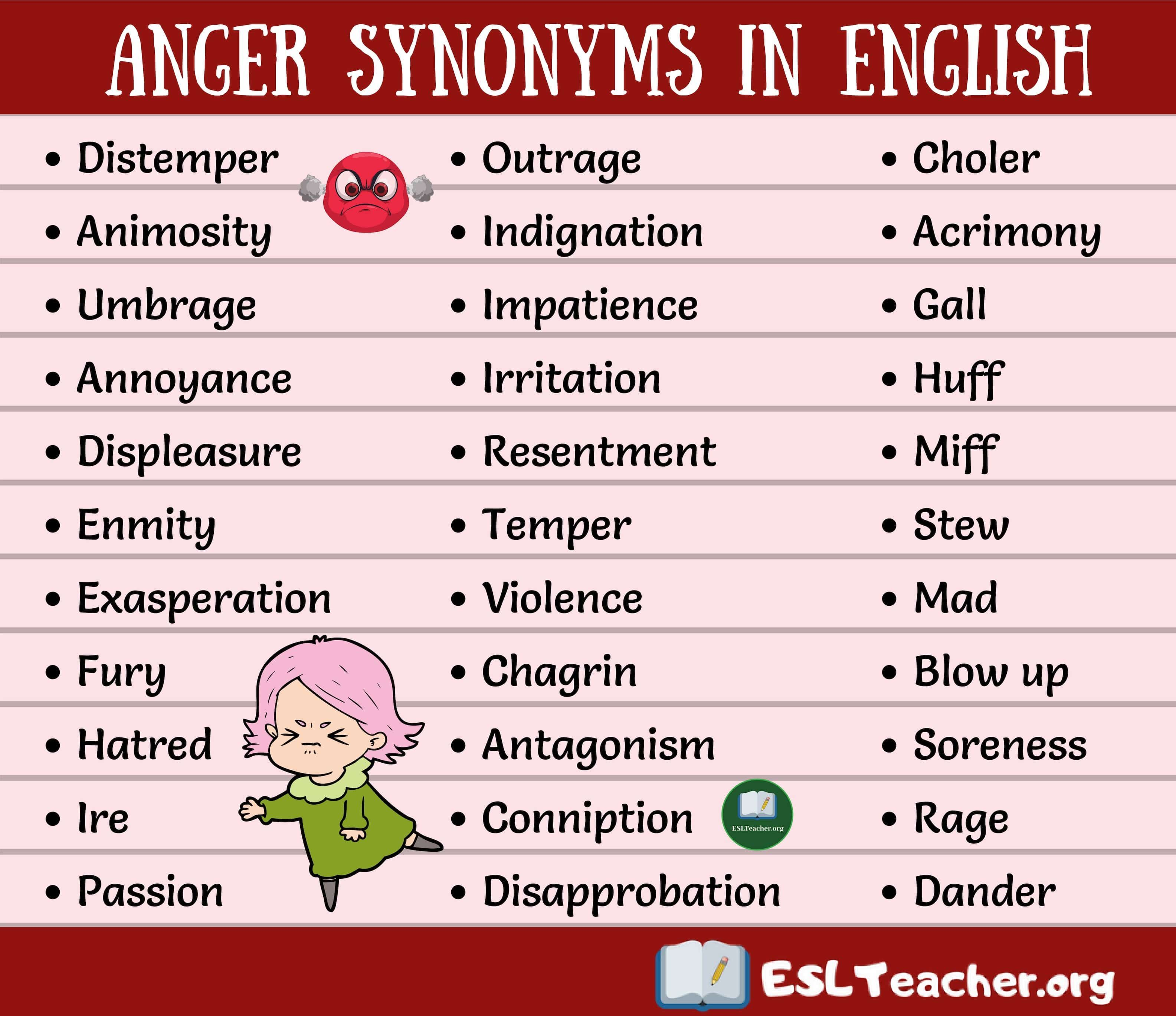 Synonyms For Anger Interesting List Of 33 Anger Synonyms