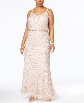ca21ccbb514 Adrianna Papell Plus Size Beaded Blouson Gown