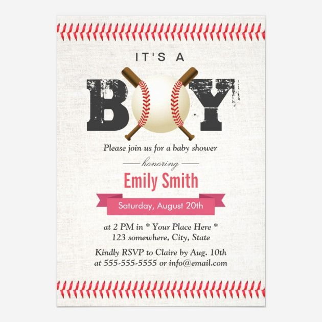 Sports Baby Shower Ideas  Baseball Stitching ItS A Boy