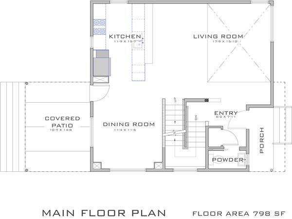 Modern Style House Plan 3 Beds 2 5 Baths 1682 Sq Ft Plan 909 2 House Plans Modern Style House Plans Narrow House Plans