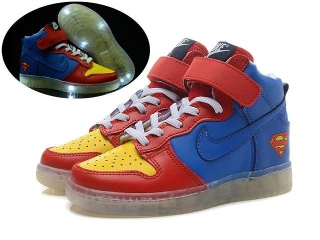Superman Nike Dunk Hi Light Up Shoes For Kids | Kid shoes
