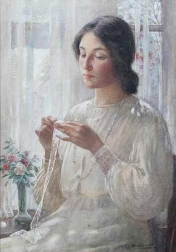 William Kay Blacklock 1872 1922 British Painter Sewing Art Knit Art Woman Painting