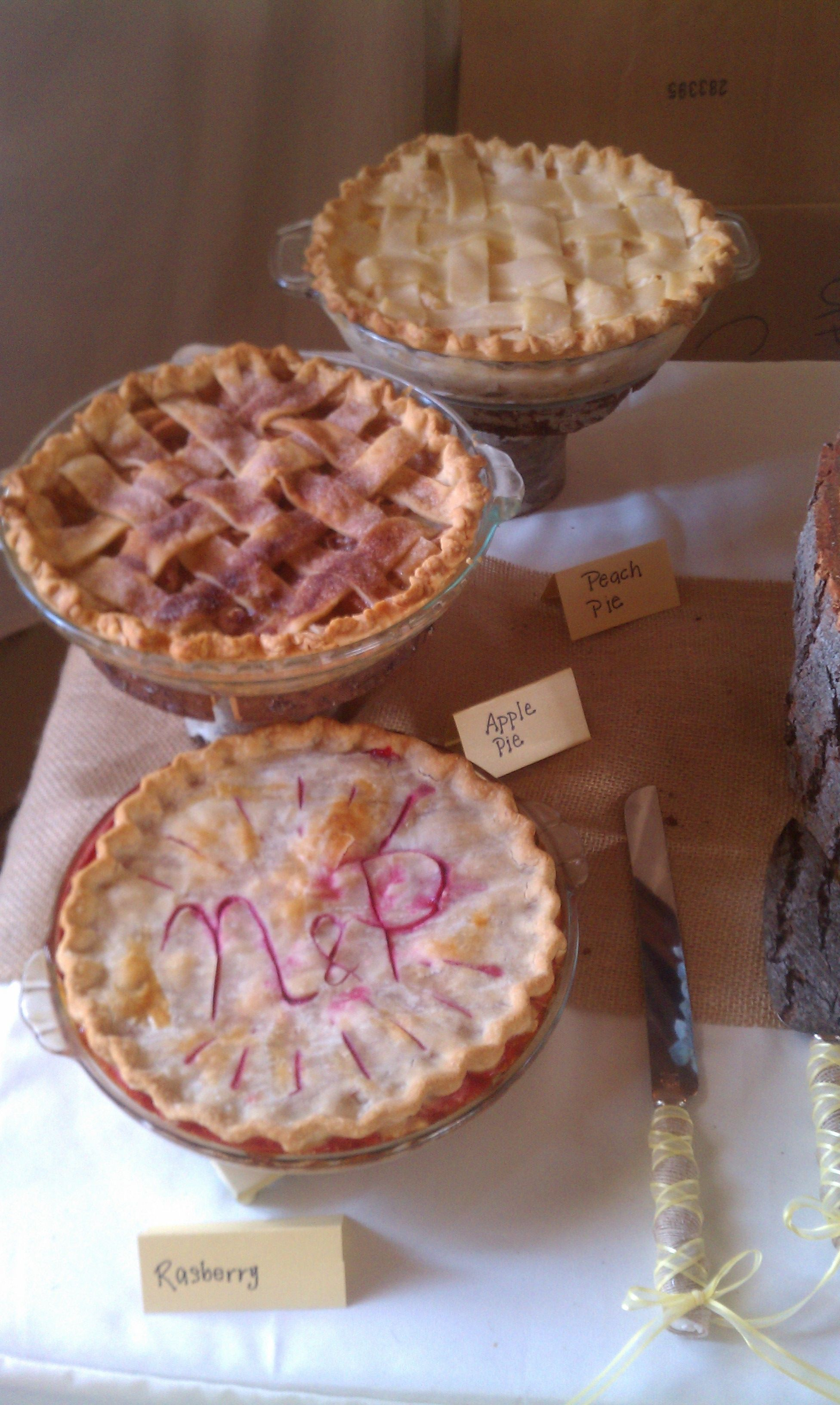 Wedding pies instead of cake! We don't like cake, perfect!
