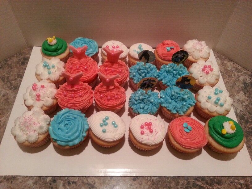 Princess and Batman cupcakes