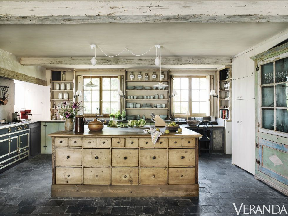 This Country Home On The Belgian Countryside Features A Custom Kitchen Island That Was Designed To Look Like An Antique Echoing Inhe Charm Of