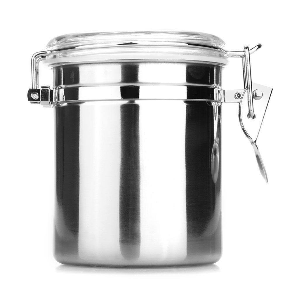 Stainless steel storage containers for kitchen - Steel Stainless Airtight Acrylic Sealed Canister Food Container 980 Ml