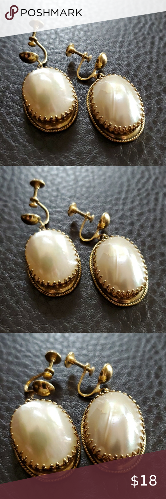 Pair gold tone with faux pearls womens earrings