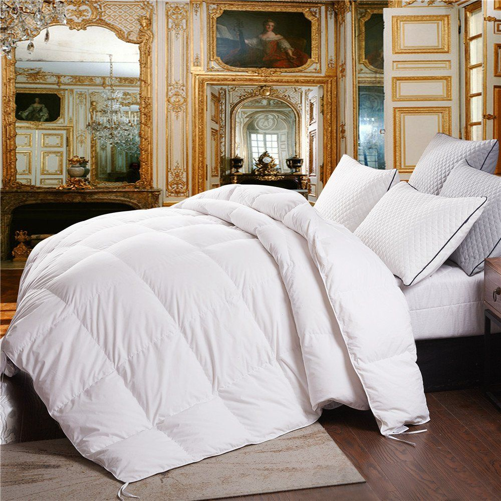 Topsleepy King Size Goose Down Comforter Duvet Insert With Corner Ties Box Stiched 100