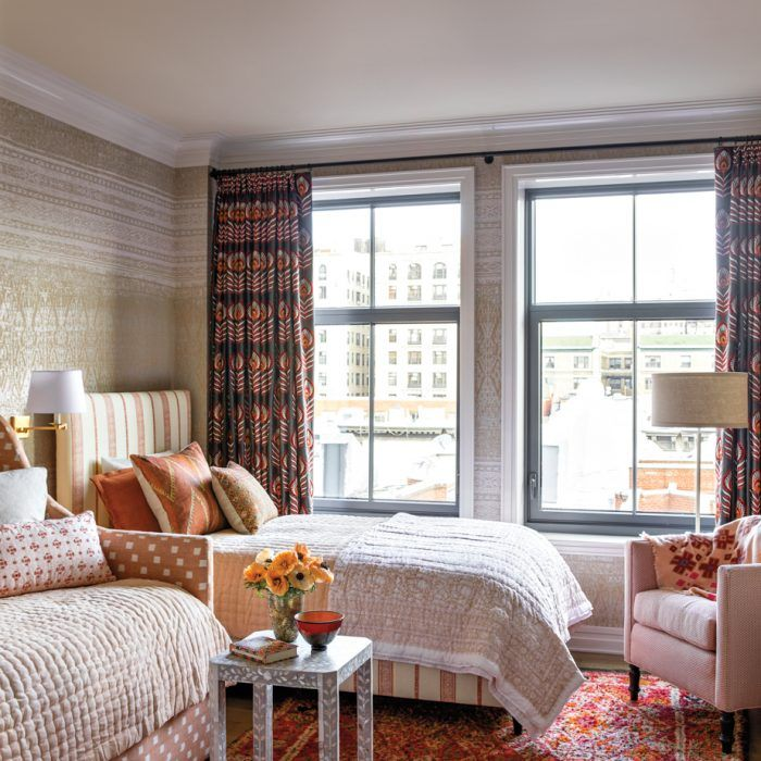 Bright And Bold Guest Bedroom: A New York City Pied-A-Terre Goes Bold And Bright (With