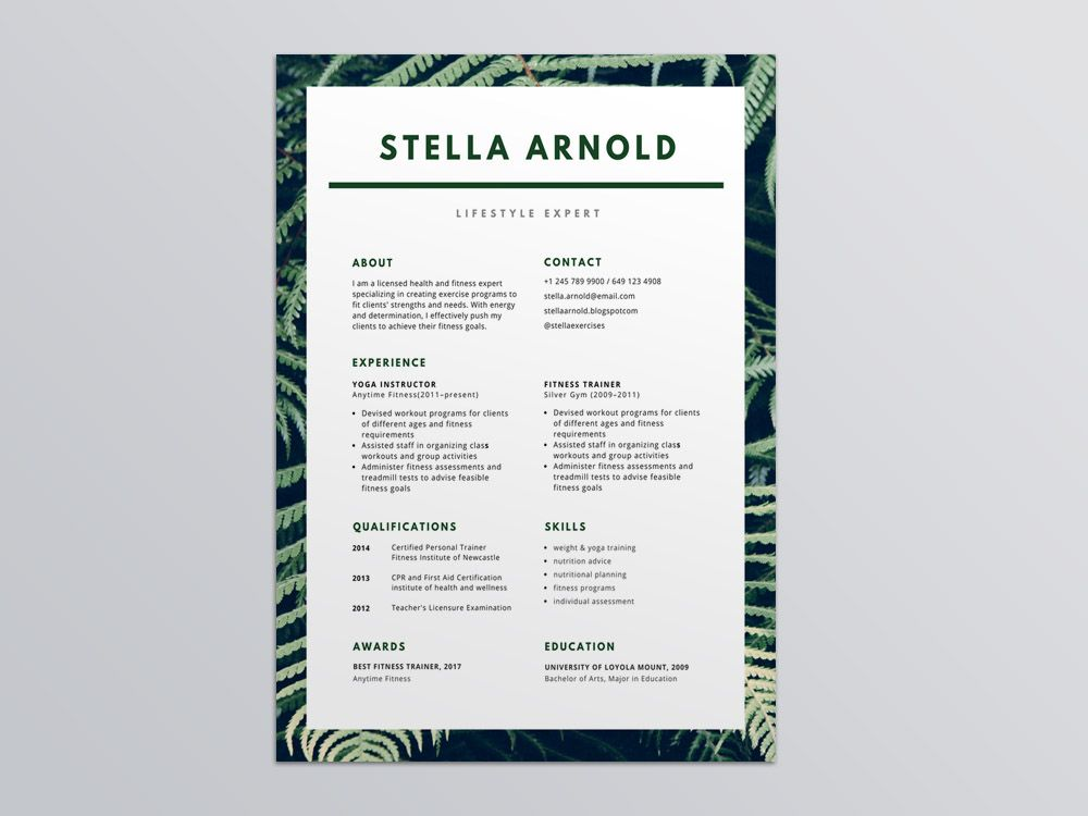 Free Resume Template For Health Related Jobs It Uses A Border Of Green Leaves With Your Name And Subheadings Spelled Out In Green Type It S A Simple Yet Mode