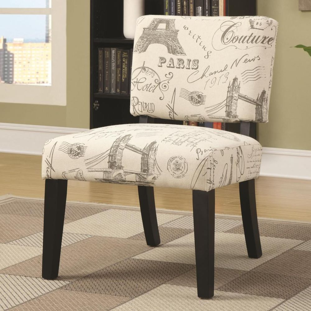 Best Beige Exposed Wood Armless Accent Chair With Paris Script 400 x 300