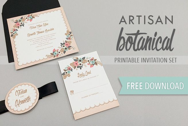 free delicate floral wedding invitation suite | free wedding, Wedding invitations