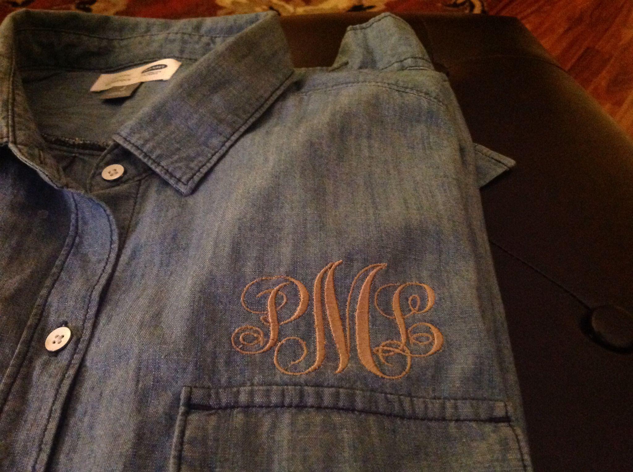 Monogrammed this denim old navy shirt!!