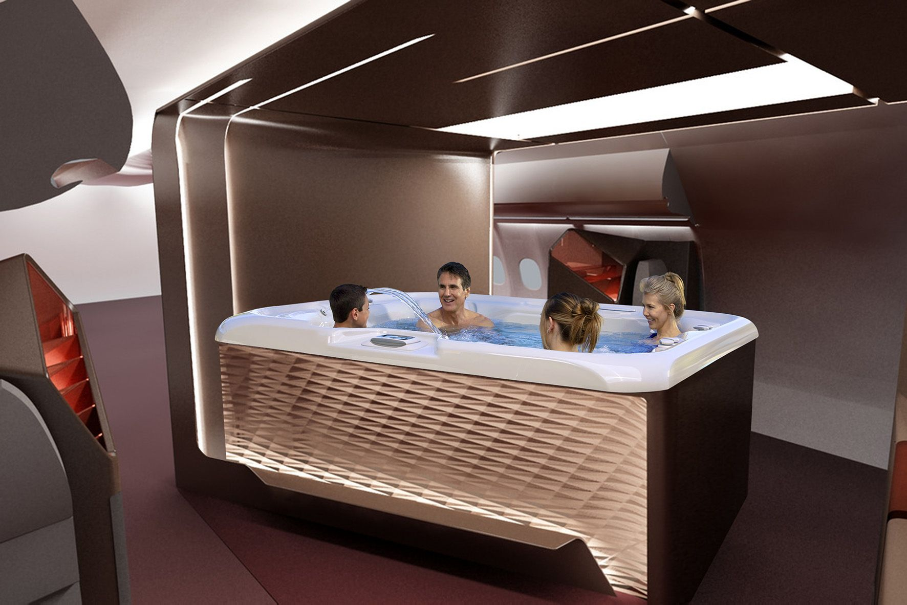 HotSpring Hot Tub in the Upper Class Lounge on a Virgin ...