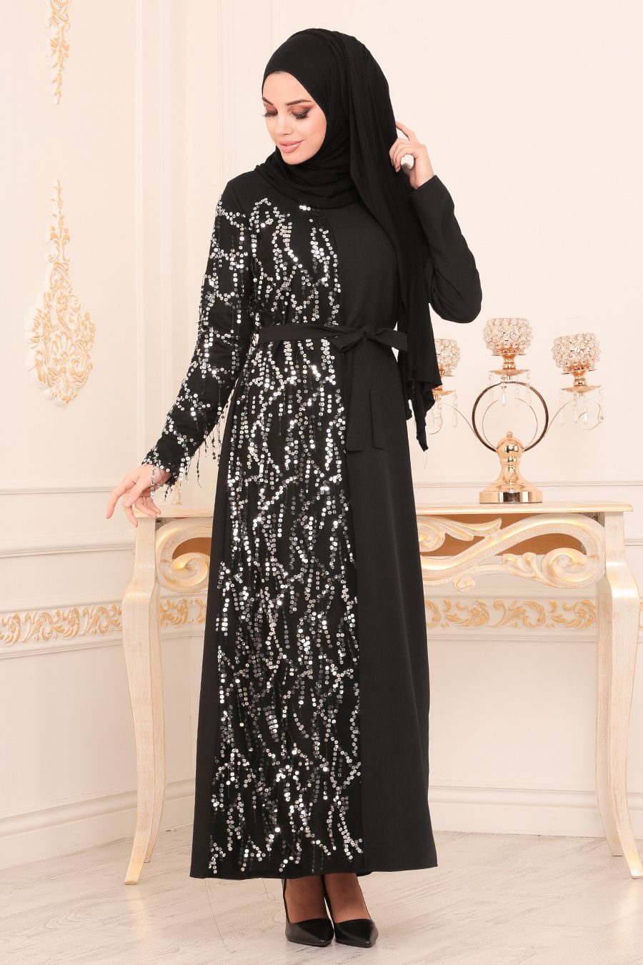 Nayla Collection Pul Payetli Siyah Tesettur Elbise 6248s Tesetturisland Com The Dress Elbise Abaya Modasi