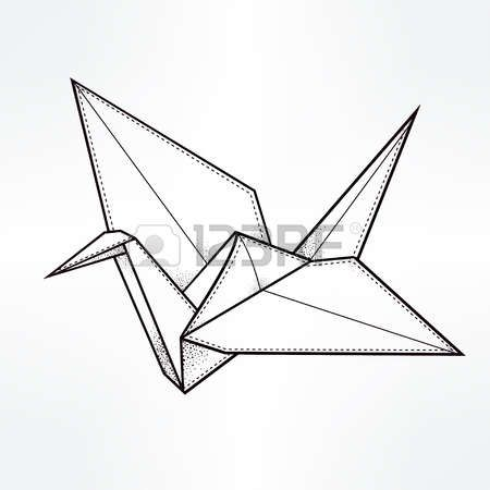 Paper Crane Origami Crane Bird Paper Crane Stylized Triangle Polygonal Model Hand Drawn Isolated Vector Illus Origami Crane Origami Tattoo Geometric Origami