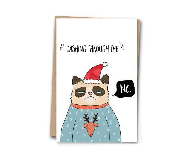 Weihnachtskarten Humor.Dashing Through The No Grumpy Cat Christmas Card Funny A6 Blank