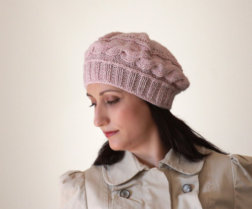 womens knit hats, Soft pink knit hat, knitted hat, knit beret ...
