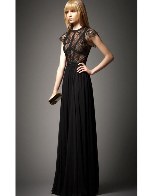 Images of Black Lace Long Dress - Reikian