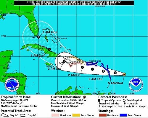 Tropical Storm Isaac Expected To Approach Florida On Monday Orlando Sentinel Tropical Storm Storm Tropical