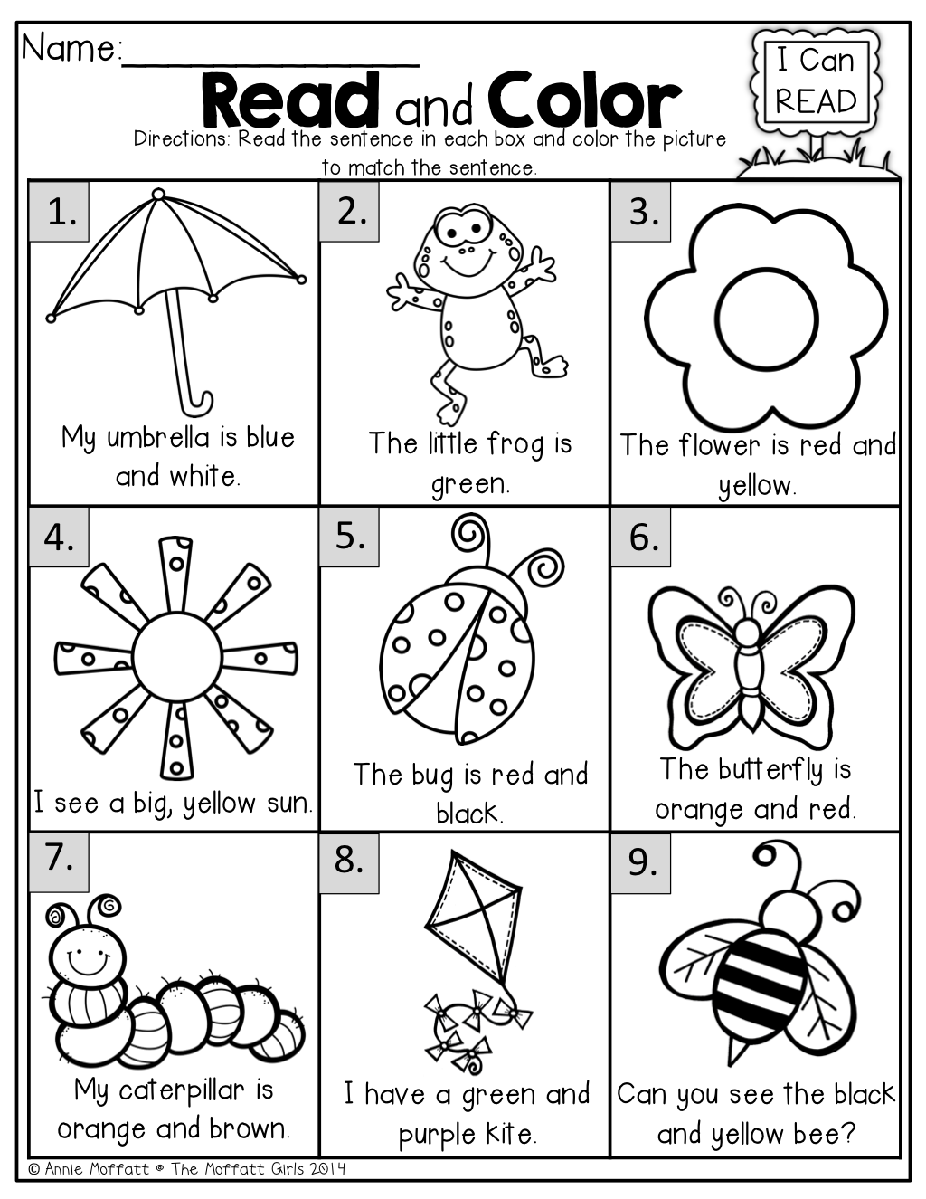 Workbooks worksheets for nursery in english : Read and Color! Read the SIMPLE sentence and color correctly ...