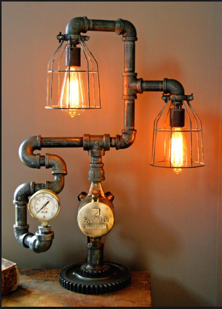 20 interesting industrial pipe lamp design ideas diy pipe industrial chic and industrial design. Black Bedroom Furniture Sets. Home Design Ideas