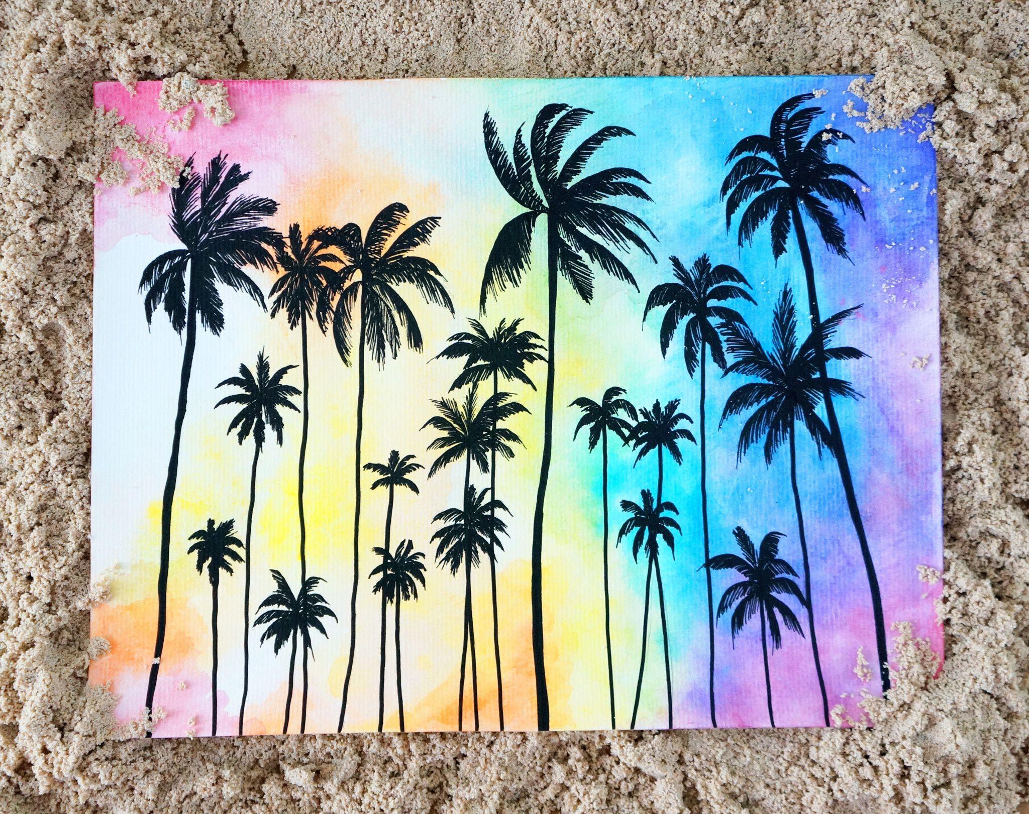 Palms Sunset Print Art Drawings Watercolor Art Canvas Art