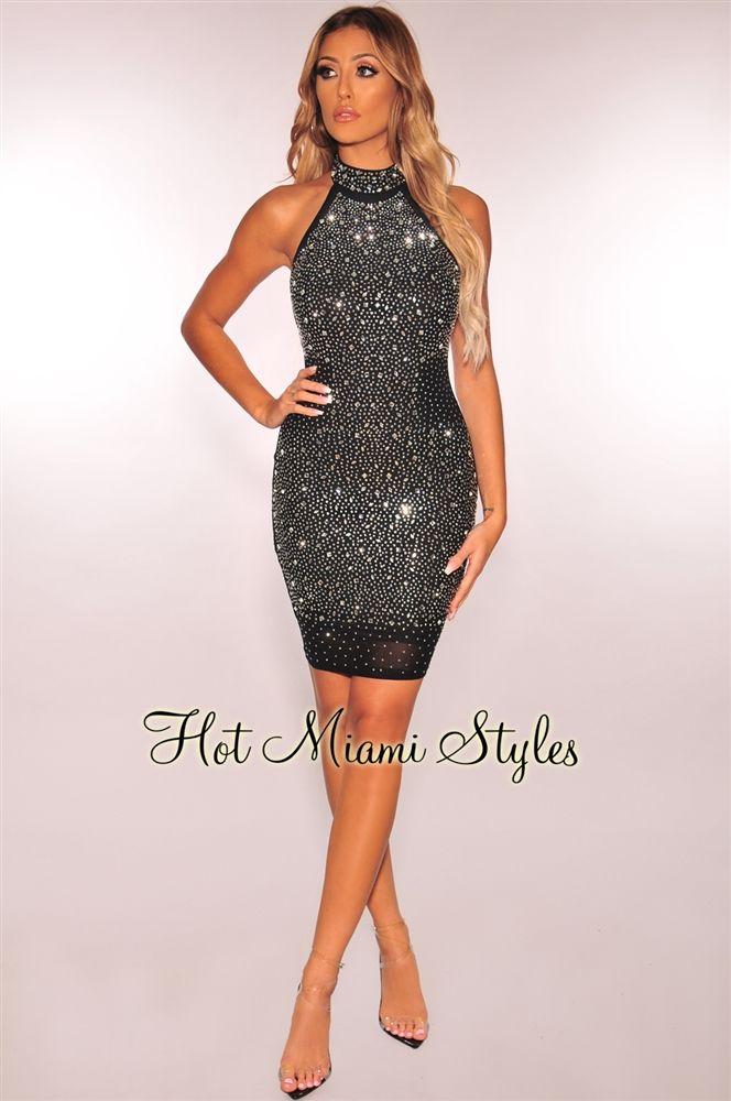 bf7fcb71cbc3e Black Silver Rhinestone Embellished Halter Dress