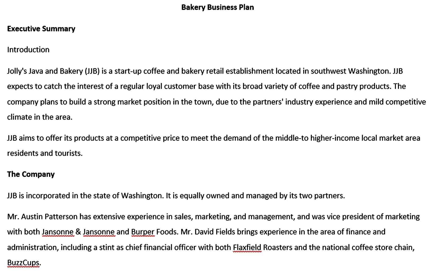 Bakery Business Plan Template in 2020 Bakery business